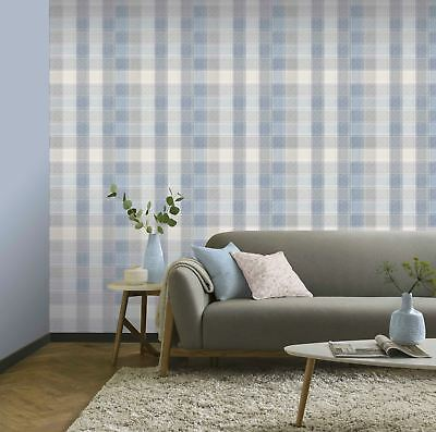 Arthouse Country Check Denim Wallpaper 902808