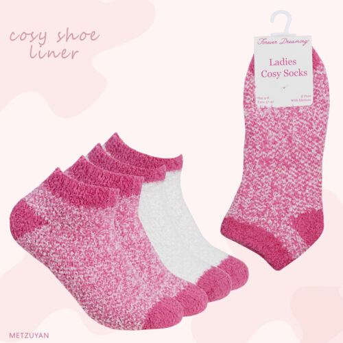 Pack of 2 Pairs Ladies Girls Cosy Fluffy Lounge Trainer Liner Socks Size 4-8 UK