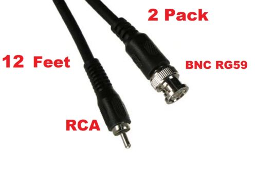2 Pack 12ft BNC male to RCA male video CCTV DVR camera cable cord