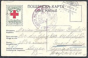Bulgaria 1917 Red Cross PC to Geneve missent to Genova