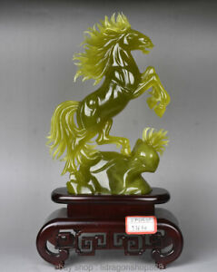 17-034-Chinois-Naturel-100-Xiu-Jade-Jadeite-Animal-Cheval-Chevaux-Sculpture