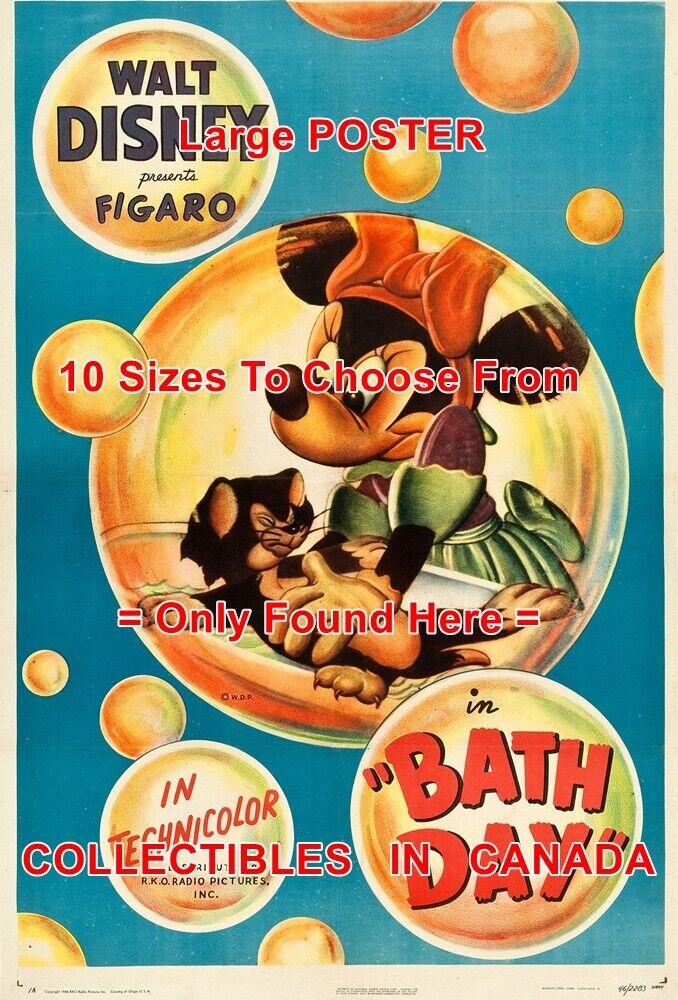 BATH DAY 1946 Minnie Mouse FIGARO Cat CARTOON = MOVIE POSTER 10 Größes 18 - 6 FT