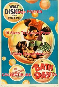 BATH-DAY-1946-Minnie-Mouse-FIGARO-Cat-CARTOON-MOVIE-POSTER-10-Sizes-18-034-6-FT