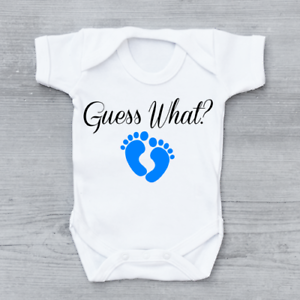 guess what pregnancy reveal new arrival announcement boys baby grow
