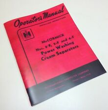 Mccormick Cream Separator Owners Operators Manual 2 F 3 F 4 F Power Wash Full