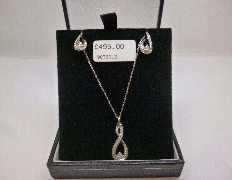 9daddfc51ff8a pendant, diamond and earrings twist diamond gold white 9ct set twist ...