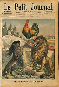 """CARICATURE ALLEGORY ROOSTER FRANCE LION GREAT BRITAIN WOLF ITALY 1903 - France - Commentaires du vendeur : """"ATTENTION,QUE LA COUVERTURE, PAS LE JOURNAL ENTIER. Just the cover, not newspaper."""" - France"""