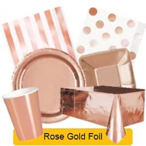 Rose Gold Foil Party Tableware Disposable Birthday Supplies Event