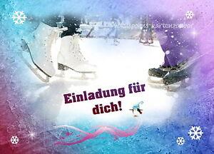 Das Bild Wird Geladen 8 Einladungskarten Schlittschuhe Geburtstag  Kindergeburtstag Schlittschuhlaufen