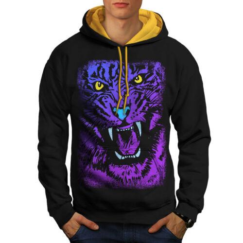 Purple Black cappuccio New Men oro Tiger Beast Animal Contrast Hoodie UqvcPFwT