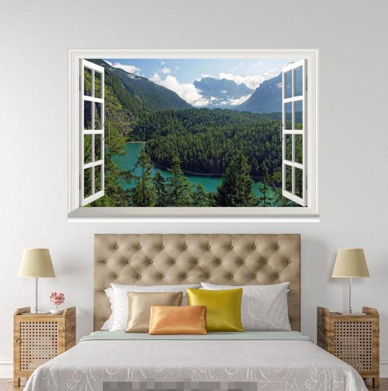 3D Mountain Tree 70 Open Windows WallPaper Murals Wall Print Decal Deco AJ WALL