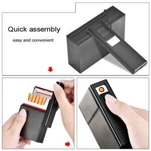 Porta Sigarette con Accendino Elettronico Ricaricabile USB Metallo Pacchetto