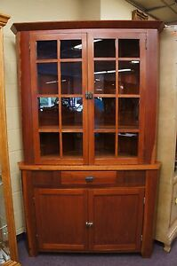 Early American Style Cherry Corner Cabinet Curio Handmade