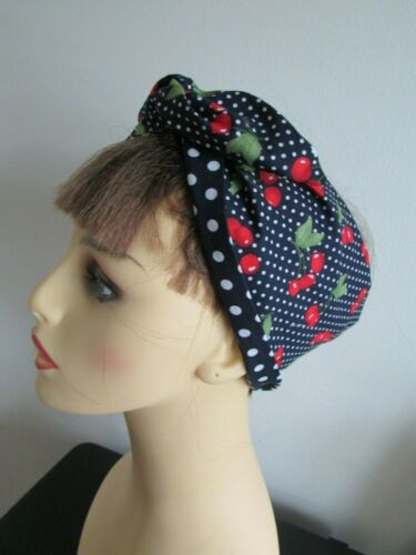 Pin Up Rockabilly Navy /& Red Cherry Wide or Narrow Wired Headband reverse Spot