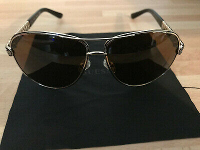 Brand New Orignal Guess Dark Brown Lens Sunglasses Sliver And Black Frame Lustro