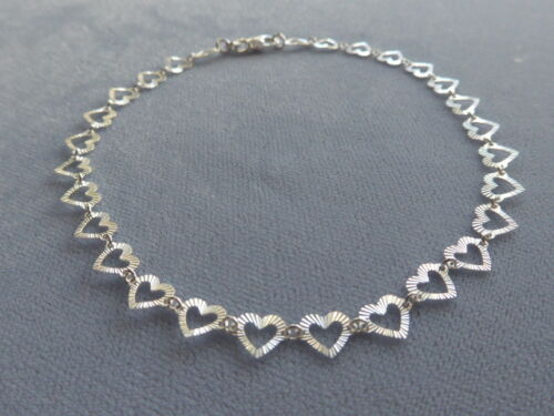 """NEW 9"""" ITALIAN STERLING SILVER ANKLE BRACELET- FACETED HEART LINK- ITALY 925"""