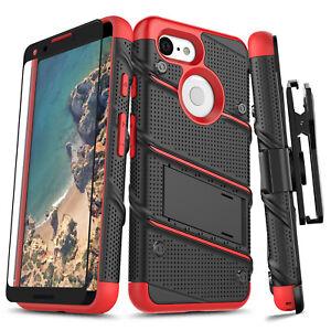 low priced f0b84 68e27 Details about Google Pixel 3 / 3 XL Case, Zizo Bolt Series Kickstand Screen  Protector Holster