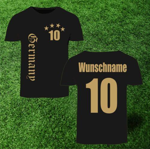 WM Fan Deutschland T-Shirt 4 Sterne schwarz Trikot Herren Weltmeister EM bis 5XL