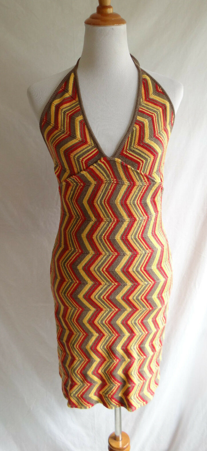 Italian Designer Victoria Gallucci Zig-Zag Knit Chevron Sweater XS Halter Dress