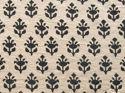 Hand Block Print, Cotton Fabric. Natural Dyes. 2½ Yards. Black & Beige