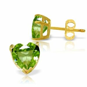 Genuine-Peridot-Gemstones-Hearts-Stud-Post-Earrings-14K-Yellow-White-Rose-Gold