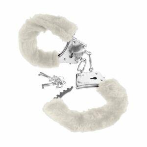 Soft-Furry-Fur-Fuzzy-Cuffs-Metal-Steel-Handcuffs-White