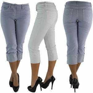 Damen-Capri-3-4-Jeans-Shorts-Bemuda-Kurze-Hueft-Hueftjeans-Stretch-Hose-T0