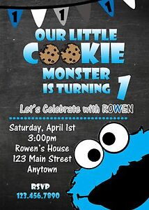 Cookie Monster Invitation Invitations Cookie Monster Birthday