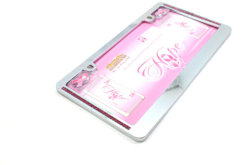 Hope Breast Cancer Pink Ribbon Chrome License Plate Tag Frame for Auto-Car-Truck