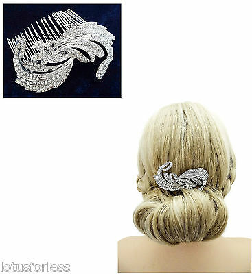 Beautiful Vintage Look Diamante Hair comb Slide in Silver Tone