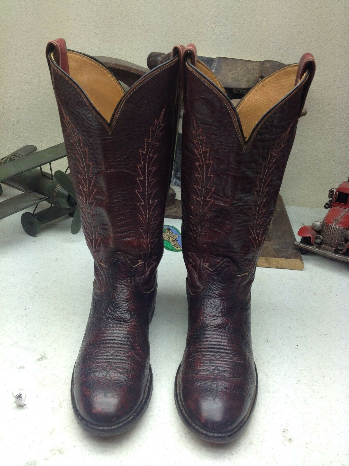 BLACK LABEL VINTAGE BURGUNDY TONY LAMA LEATHER RANCH RODEO RANCH LEATHER DANCE WORK Stiefel 6 B 241a56
