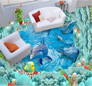 3D Dolphin Coral  904 Floor WallPaper Murals Wall Print 5D AJ WALLPAPER UK Lemon