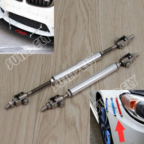 "NEW Silver 4.5-8/"" Adjustable Extension Rod Bumper Lip Diffuser Splitter For Audi"