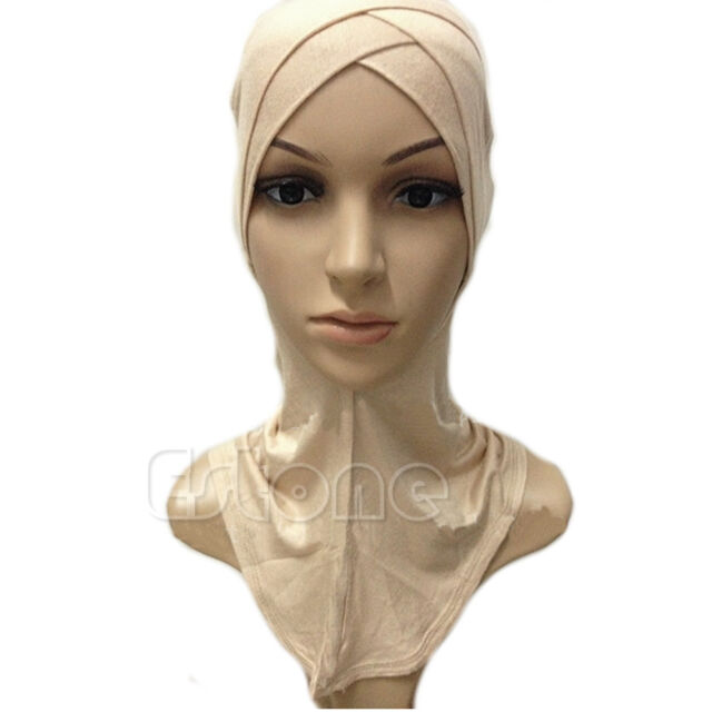 Muslim Cotton Full Cover Inner Hijab Cap Islamic Head Wear Hat Underscarf Colors