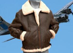Bombardero-B3-piloto-de-la-segunda-guerra-mundial-real-de-piel-de-oveja-Marron-Cuero-Oveja-Volando
