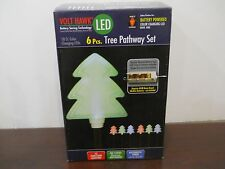 Set of 6 Christmas Tree Pathway Lights Markers Battery Operated color changing