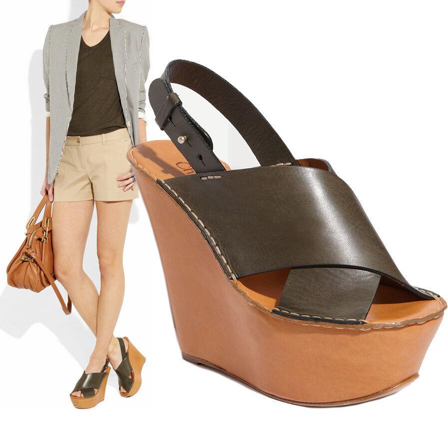895 CHLOE chaussures PLATFORM CUFF WRAPPED WEDGE SANDALS CRISSCROSS VAMP