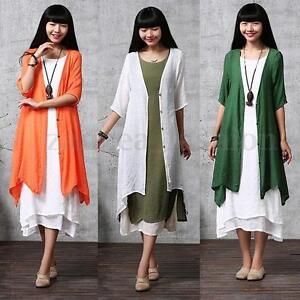 Women-039-s-Cotton-Linen-Loose-Coat-Open-Cardigan-Irregular-Kimono-Long-Tops-Outwear