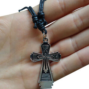 Cross-Pendant-Chain-Necklace-Choker-Silver-Tone-Womens-Mens-Childrens-Girls-Boys