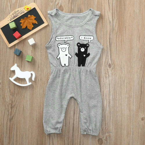 Cute Toddler Kids Baby Cartoon Girls Boys Trouser Outfit Clothes Romper Jumpsuit