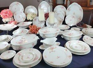 Austria Elsa - 41 Pcs Dinnerware Set - Pink/White Floral, Pink/Green Scrolls