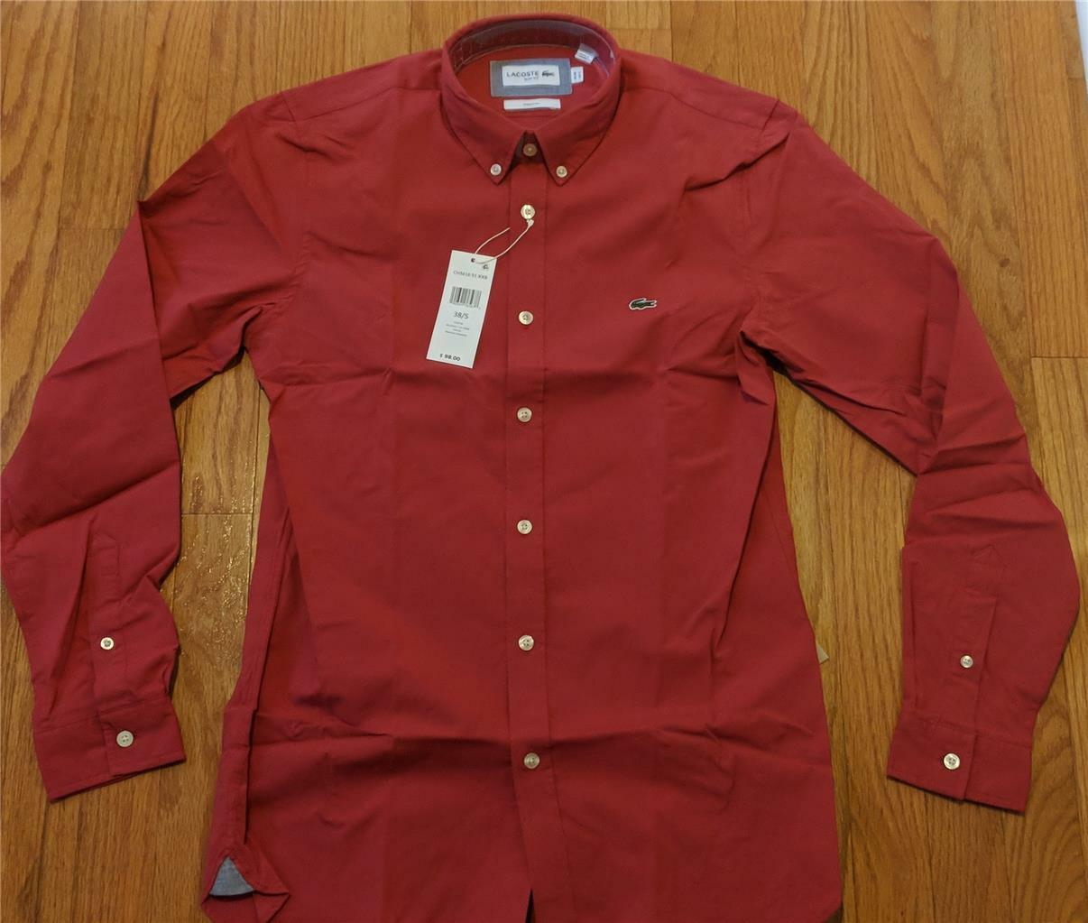 363dda0e Mens Lacoste LS Stretch Oxford Button Woven Shirt Intense Red 44 XL ...
