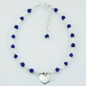 Handcrafted-bracelet-lapis-lazuli-gemstone-amp-pearl-beads-sterling-silver-heart