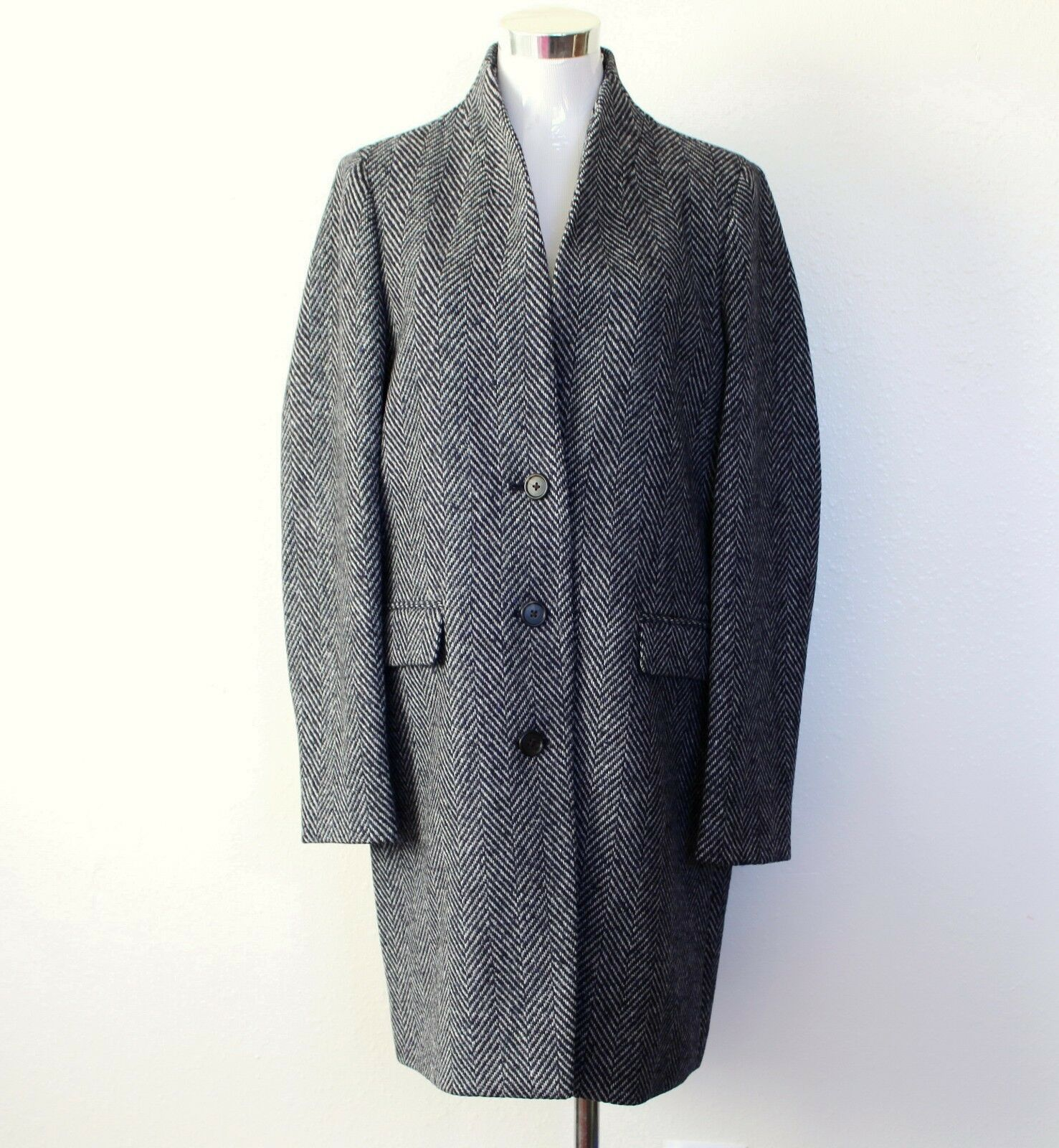 NWT Jcrew Wool Blend Standing Collar Oversize Topcoat , NAVY DONEGAL, P10 365
