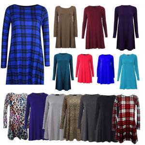 Ladies-Women-Long-Sleeve-Swing-dress-skater-Party-Top-Dress-Tunic-Print-t-shirt