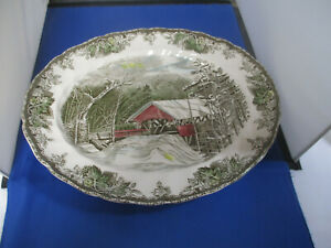 """Johnson Brothers Friendly Village 15"""" Oval Serving Platter """"The Covered Bridge"""""""