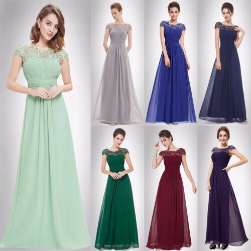 Long Evening Dress Formal Wedding Prom Gown Lace Maxi Bridesmaid Dress US 09993