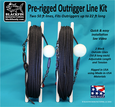 Release Clips Hal-Lock Double Pulleys Outrigger Rigging Kit 4 Lines 50//30 FT