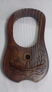 Adaptable Lyre Harpe Main Gravé Chardon Crest Palissandre Bois 10 Métal Chaîne Case & Key-afficher Le Titre D'origine Prix ModéRé