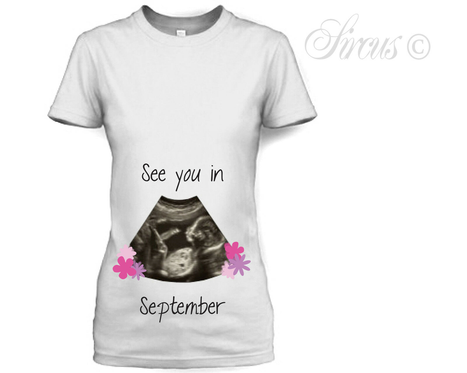 PERSONALISED BABY SCAN MONTH DUE BABY BOY DESIGNER MATERNITY T SHIRT TSHIRT